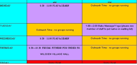 Bingley rural children's centre  timetable